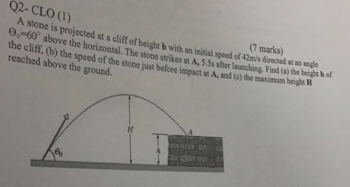 q2-clo () (7 marks) a stone is projected at a cliff