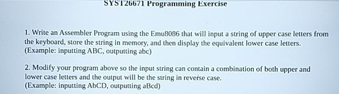 Solved: SYST26671 Programming Exercise 1  Write An Assembl