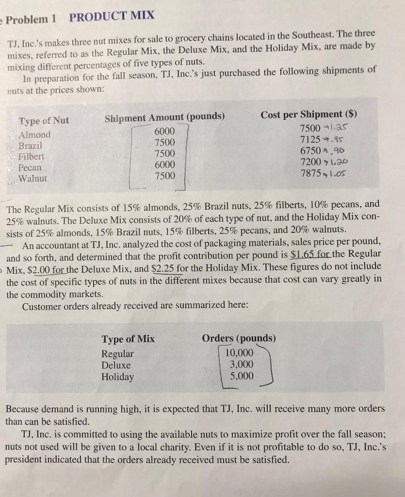 Solved: Problem 1 PRODUCT MIX TJ, Inc 's Makes Three Nut M