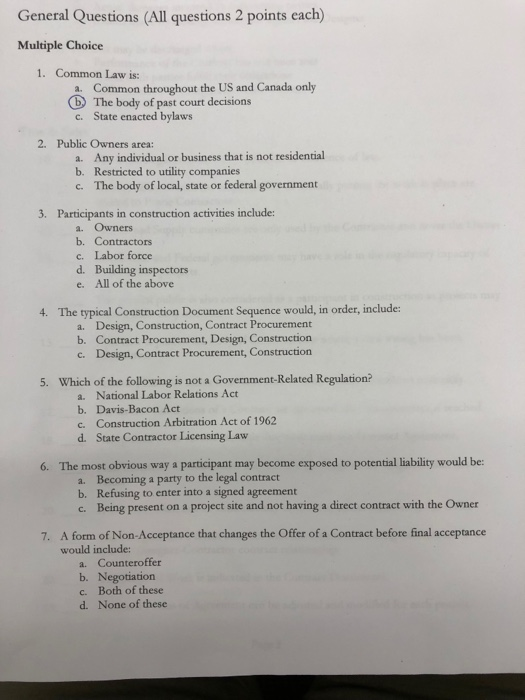 Solved: General Questions (All Questions 2 Points Each) Mu