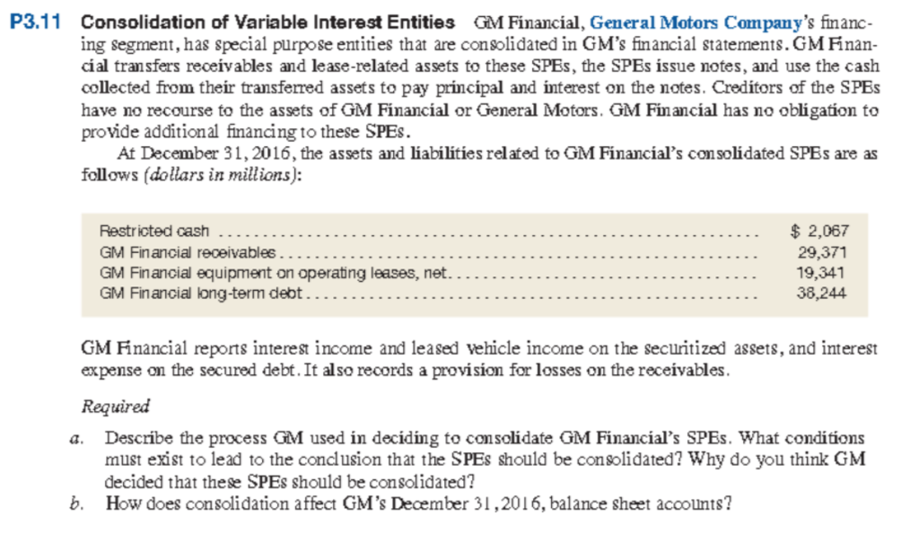 Gm Financial Lease Payment >> Solved P3 11 Consolidation Of Variable Interest Entities
