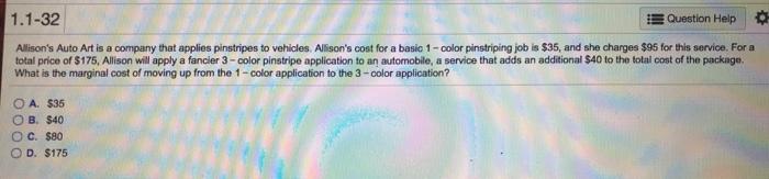 Solved 1 1 32 E Question Help Allison S Auto Art Is A Com Chegg Com