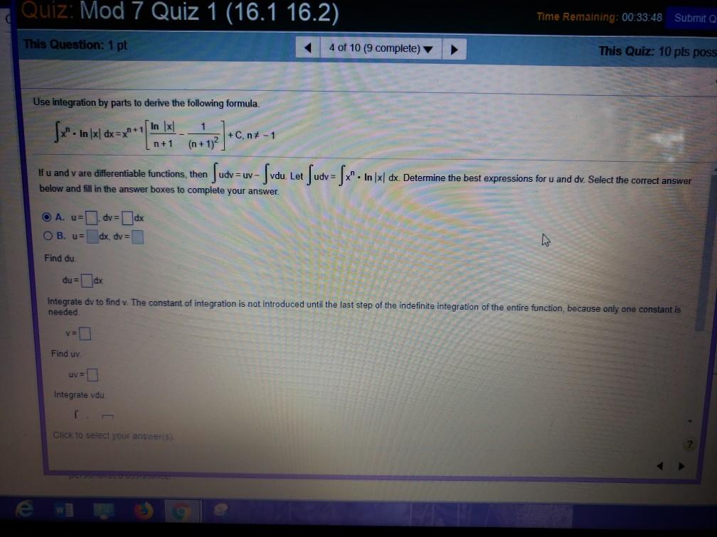 Solved: Quiz: Mod 7 Quiz 1 (16 1 16 2) Time Remaining: 00