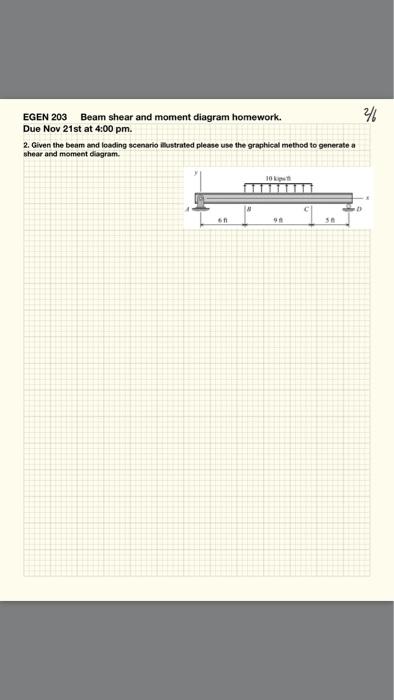 Solved Egen 203 Beam Shear And Moment Diagram Homework D