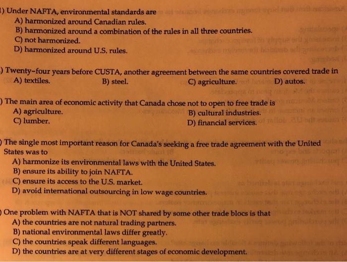 Solved: ) Under NAFTA, Environmental Standards Are A) Harm