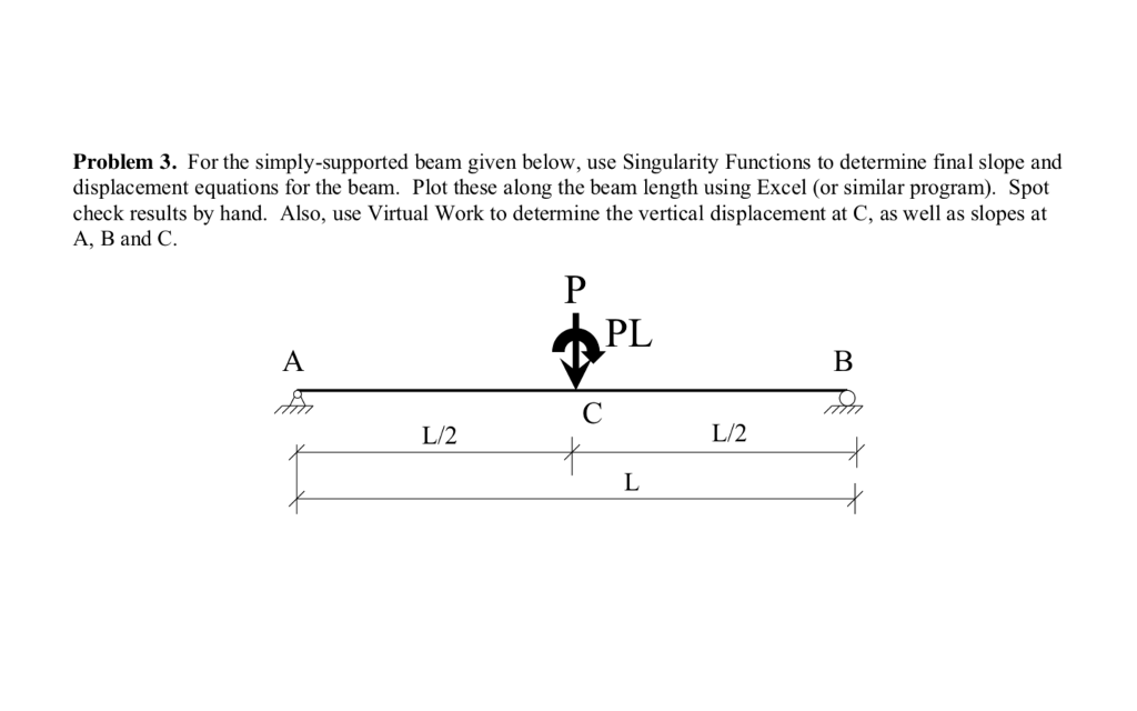 Problem 3. For the simply-supported beam given below, use Singularity Functions to determine final slope and displacement equations for the beam. Plot these along the beam length using Excel (or similar program). Spot check results by hand. Also, use Virtual Work to determine the vertical displacement at C, as well as slopes at A, B and C. PL L/2 L/2