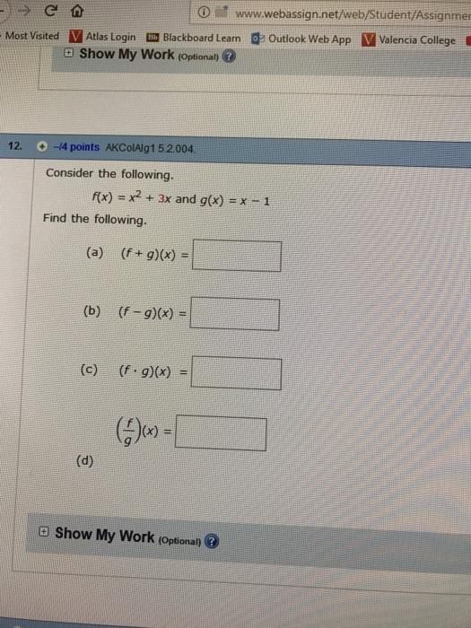 o it wwwwebassignnetwebstudentassignme blackboard lean outlook