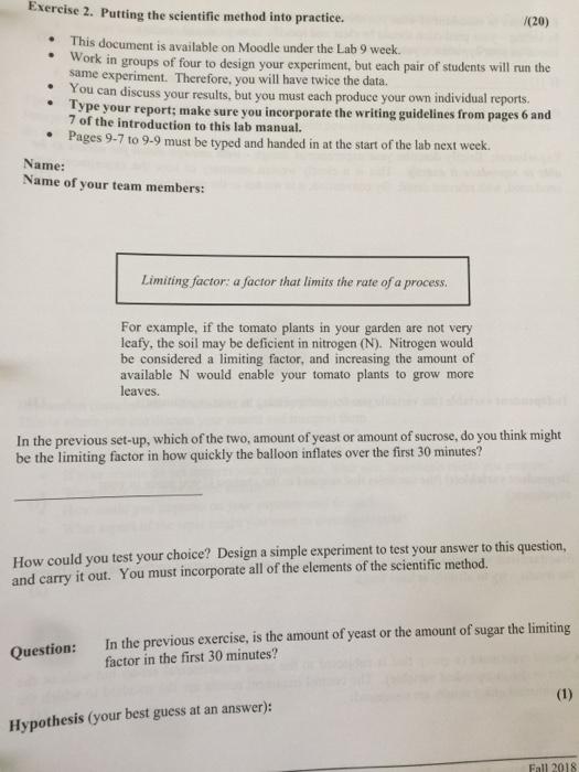 limiting factors lab