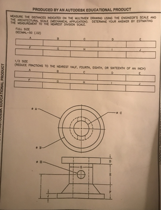 produced by an autodesk educational product measure the distances indicated  on the multmew drawing using the