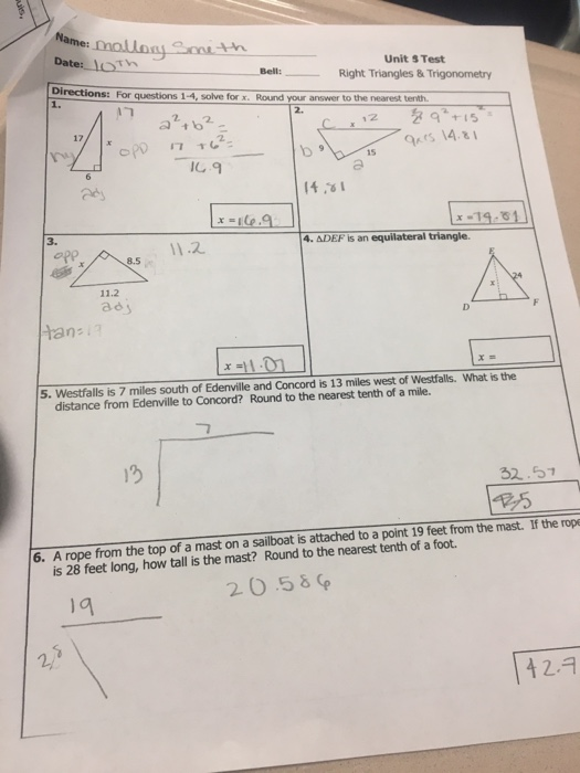 Solved: Date LoTh Unit S Test Right Triangles & Trigonomet ...