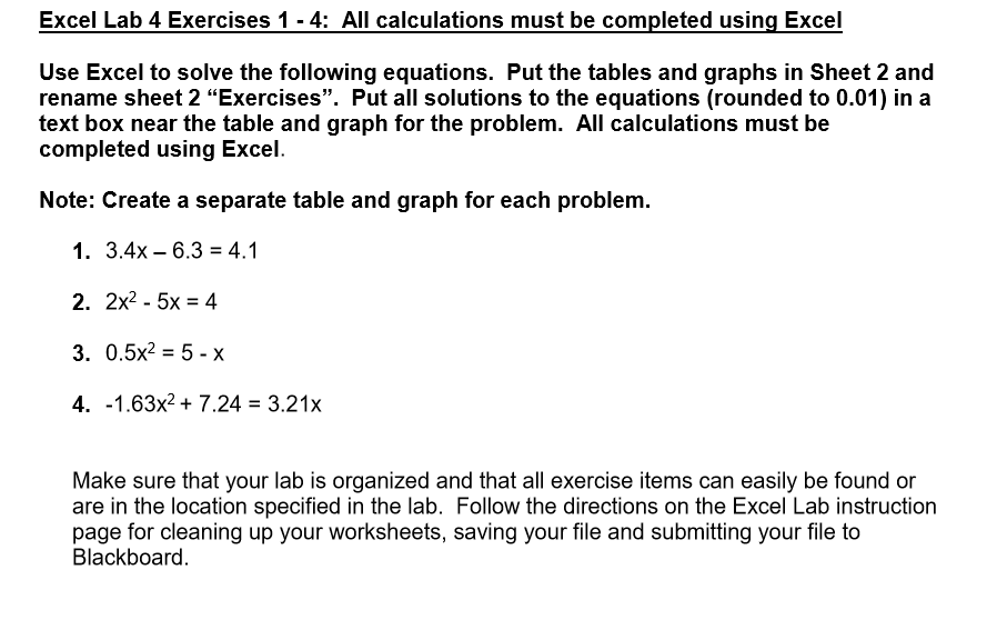 Solved: Excel Lab 4 Exercises 1- 4: All Calculations Must