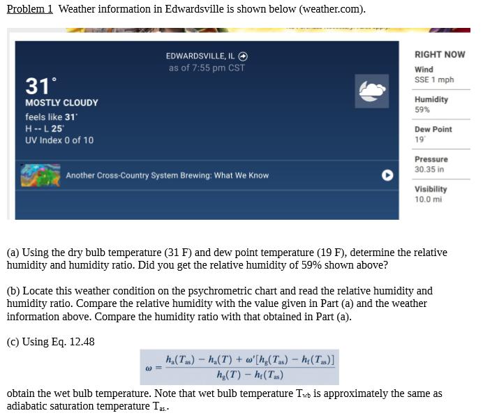 Problem1 Weather Information In Edwardsville Is Shown Below Il
