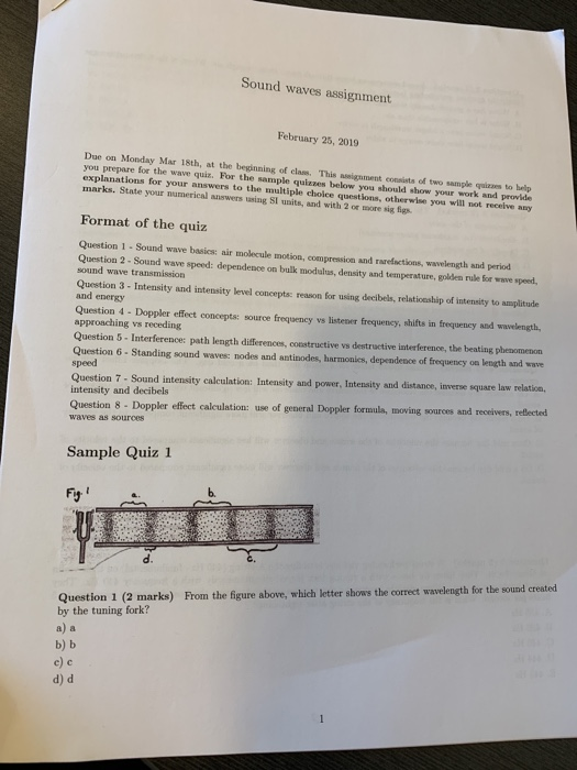 Solved: Sound Waves Assignment February 25, 2019 Due On Mo