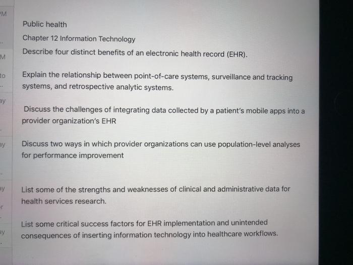 Solved: Public Health Chapter 12 Information Technology De