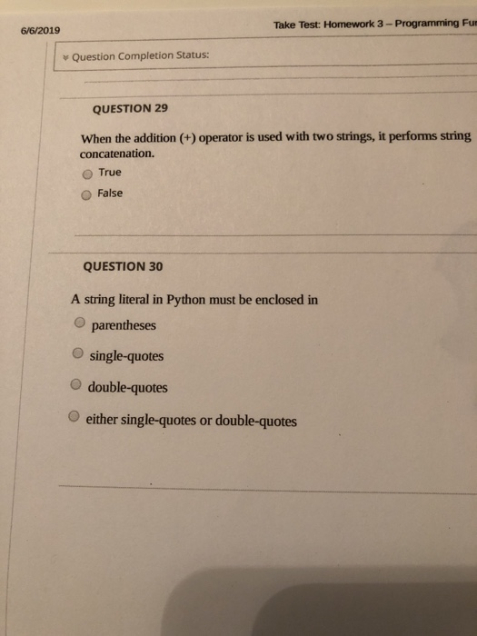 Solved: Take Test: Homework 3- Programming Fun 6/6/2019 Qu