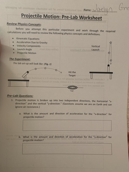 Solved: AoName:aely Projectile Motion: Pre-Lab Worksheet R ...