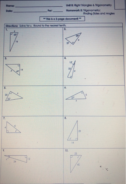 Solved: Unit 8: Right Triangles & Trigonometry Name: Date ...