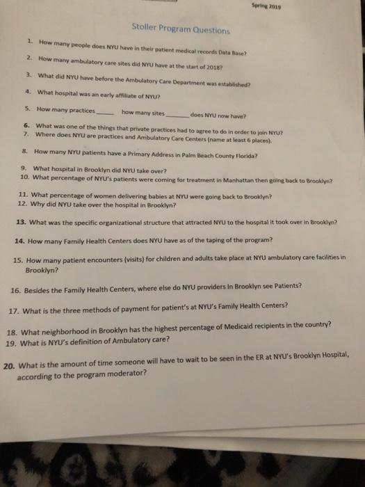 Spring 2019 Stoller Program Questions 1  How Many     | Chegg com