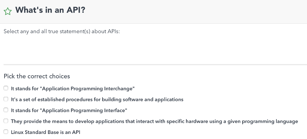 Solved: What's In An API? Select Any And All True Statemen
