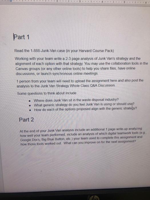 Part 1 Read The 1-888-Junk-Van Case (in Your Harva