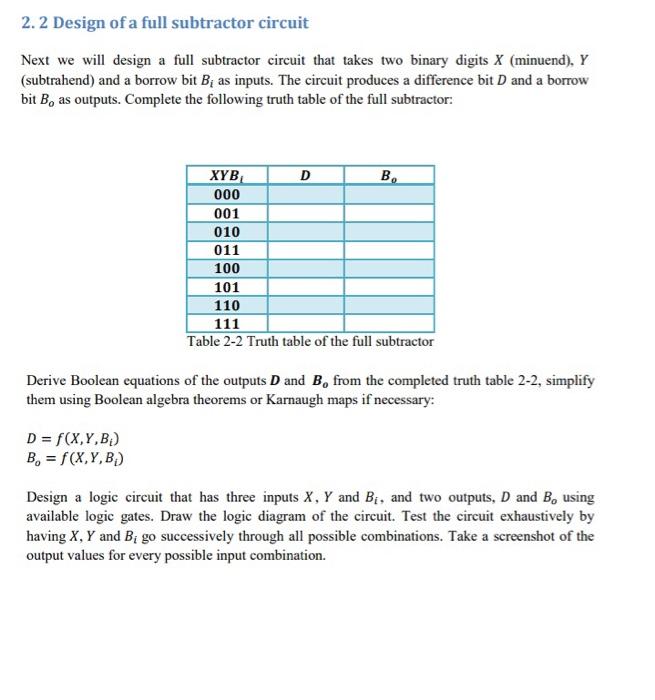 Circuit Diagram Of Full Subtractor | Solved 2 2 Design Of A Full Subtractor Circuit Next We W