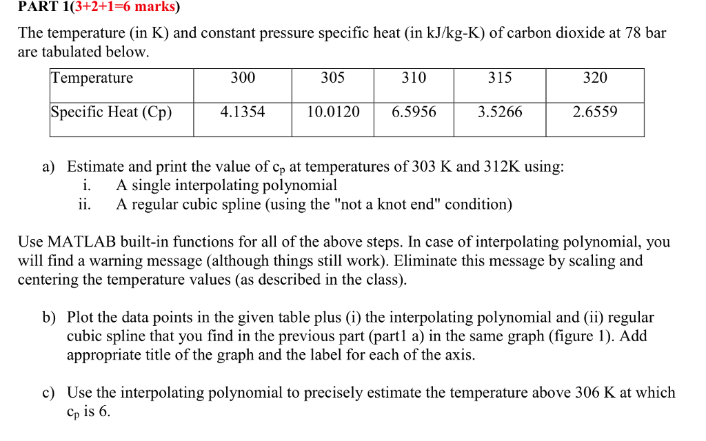 PART 1(3+2+1-6 Marks) The Temperature (in K) And C    | Chegg com