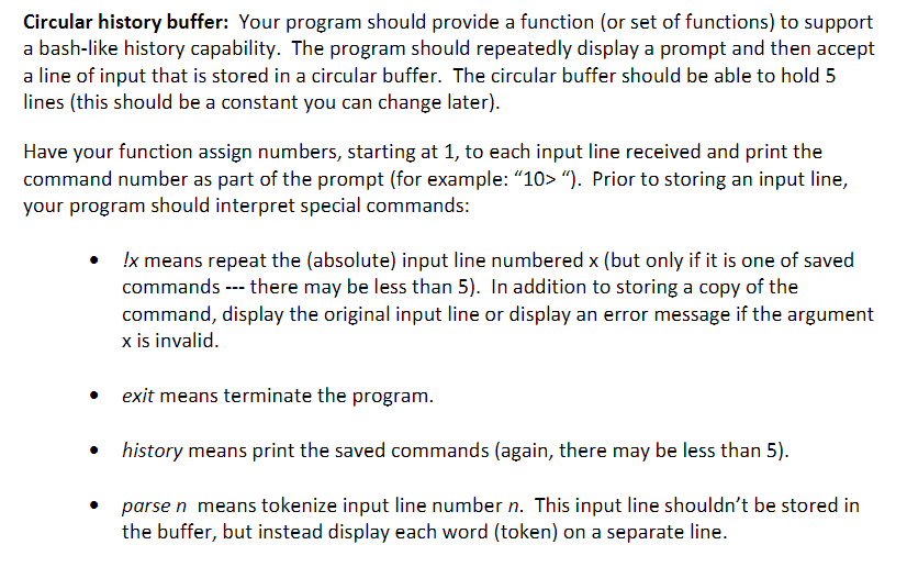 Solved: Circular History Buffer: Your Program Should Provi