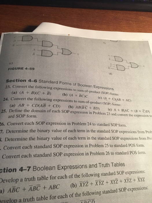 Solved Figure 4 59 Dy Section 4 6 Standard Forms Of Bool