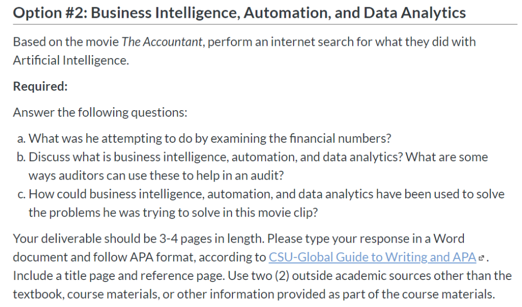 Option #2: Business Intelligence, Automation, And ...   Chegg.com