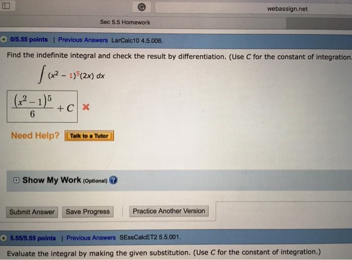 Solved: Webassign net Sec 5 5 Homework 0/5 55 Points   Pre