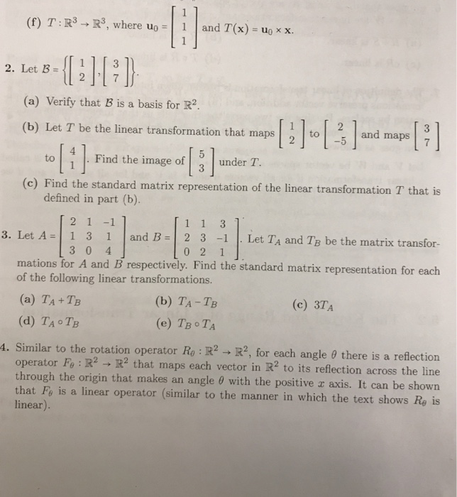 Solved: (f) T:R3 R3, Where Uo And T(x) -uoxx  13 2  Let 3