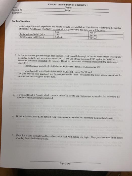 LHEM 1ISIK-Survey Ot Chemistry I Name Team: Instru    | Chegg com