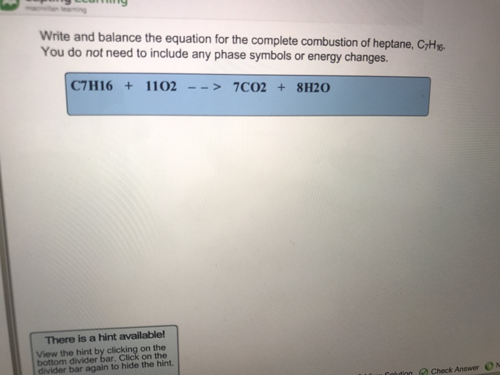 Write a balanced equation for the complete combustion of heptane cheap mba essay editor services usa
