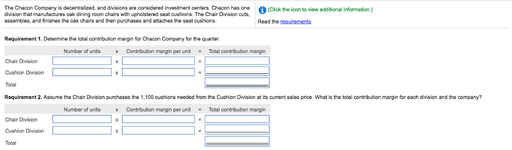 Solved: The Chacon Company Is Decentralized, And Divisions ...