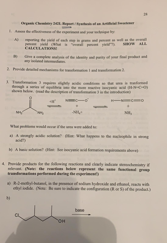 25 SYNTHESIS OF AN ARTIFICIAL SWEETENER Experiment
