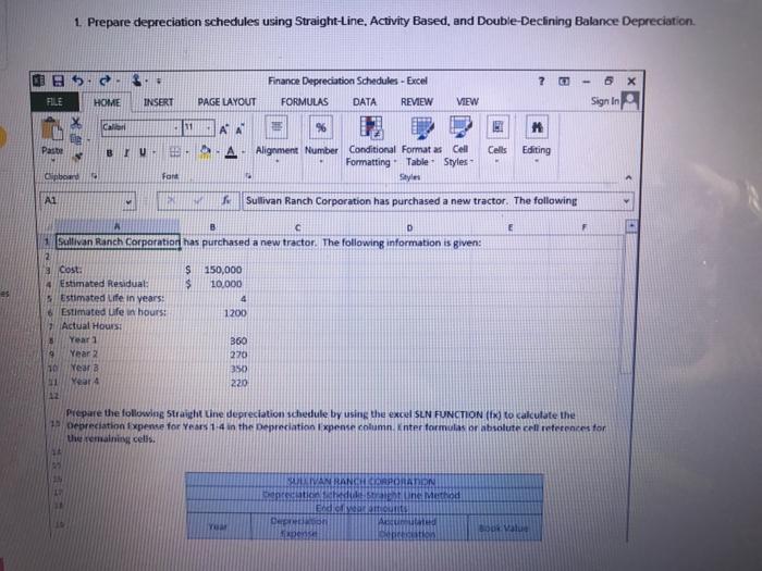 solved 1 prepare depreciation schedules using straight