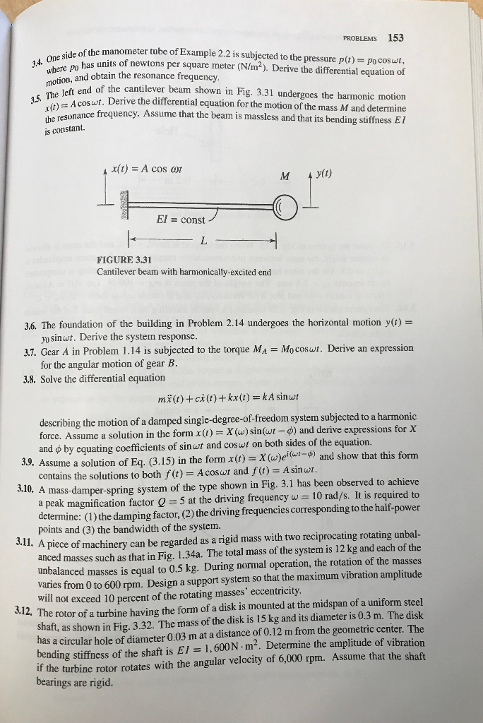 Solved: 3 8 -fundementals Of Vibration-meirovitch Solve Th