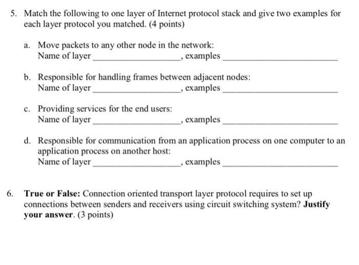 Solved: 5  Match The Following To One Layer Of Internet Pr