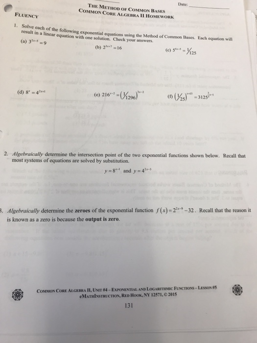 Solving Linear Equations Common Core Algebra 2 Homework