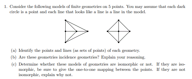 Solved: I  Consider The Following Models Of Finite Geometr