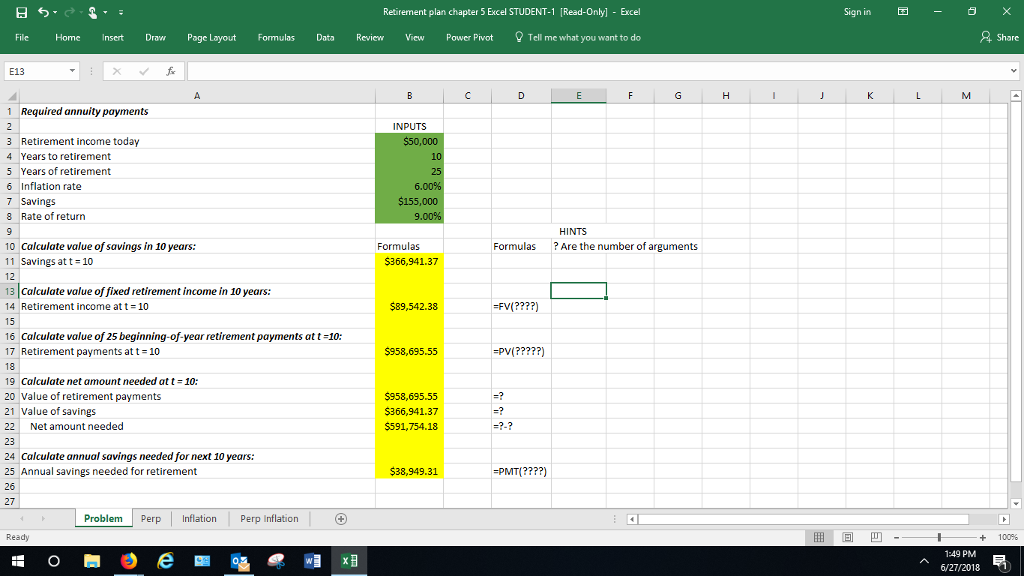 solved the instructor wants the answers in an excel formu