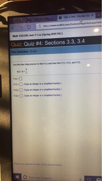 Solved: Take A Test-Nicolas Ga X (- > O J凸https Math 1325