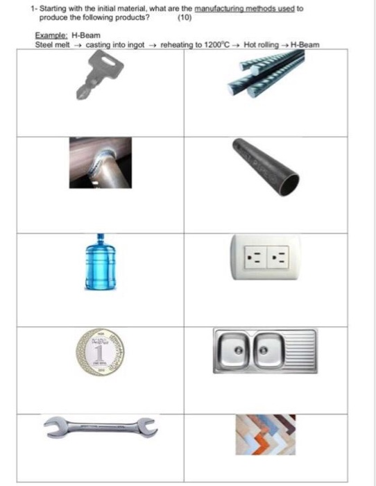 1- Starting with the initial material, what are the manufacturing methods used to produce the following products? (10) Example: H-Beam Steel melt → castir ginto ingat 그 reheating to 1200 ℃ → Hot rolling →H-Beam