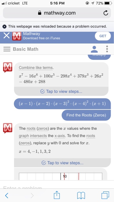 Solved: I Have This Problem (x^7-16x^6+100x^5-298x^4+379^3 ... on free national geographic, free math help, free math solver,