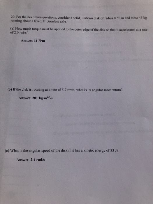 Solved 20 For The Next Three Questions Consider A Solid