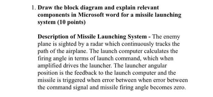 draw the block diagram and explain relevant components in microsoft word  for a missile