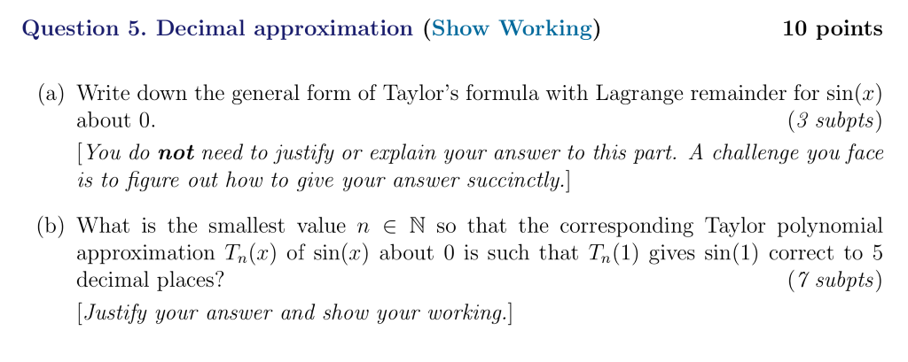 Solved: Question 5  Decimal Approximation (Show Working) 1