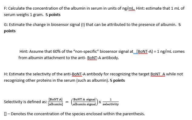 F: Calculate the concentration of the albumin in serum in units of ng/mlL. Hint: estimate that 1 mL of serum weighs 1 gram. 5
