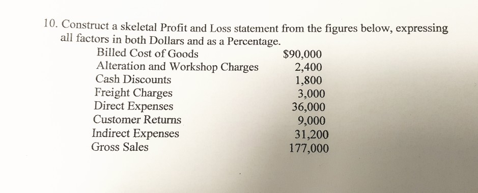 solved 10 construct a skeletal profit and loss statement