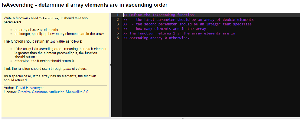 Solved: IsAscending - Determine If Array Elements Are In A